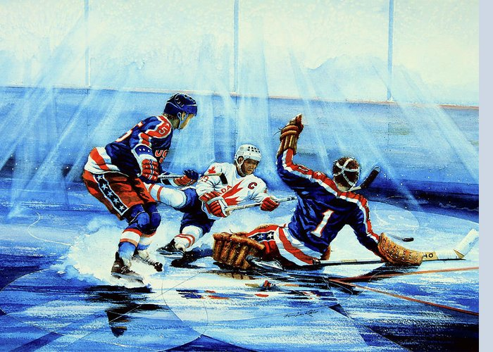 Sports Artist Greeting Card featuring the painting He Shoots by Hanne Lore Koehler