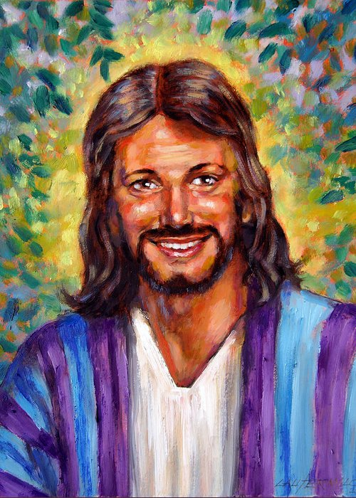 Jesus Smiling Greeting Card featuring the painting He Smiles by John Lautermilch