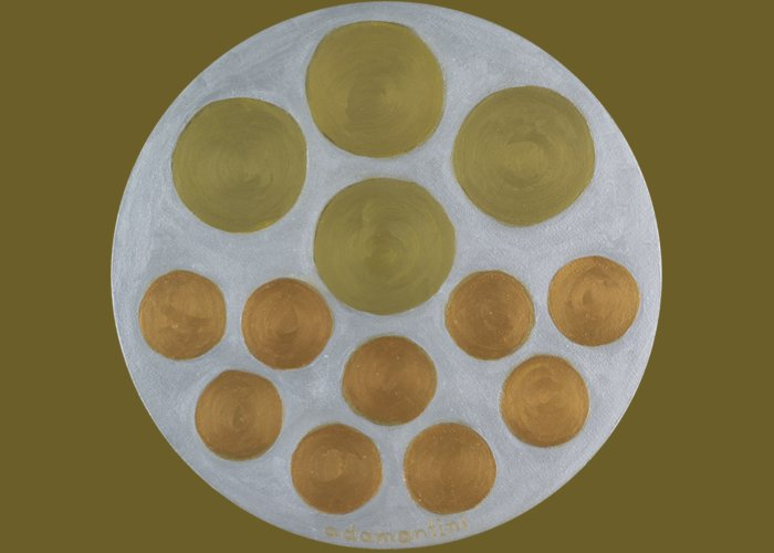 He Tu Greeting Card featuring the painting He Tu Metal Round by Adamantini Feng shui