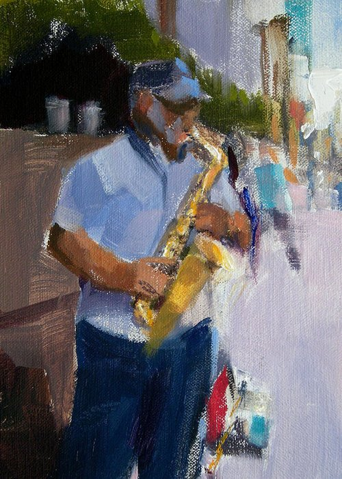 Musicians Greeting Card featuring the painting He Was Playing Real Good For Free by Merle Keller