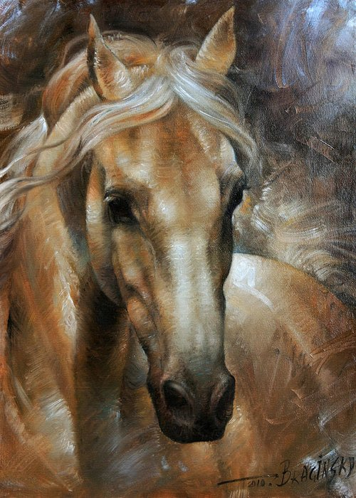 Horse Greeting Card featuring the painting Head Horse 2 by Arthur Braginsky