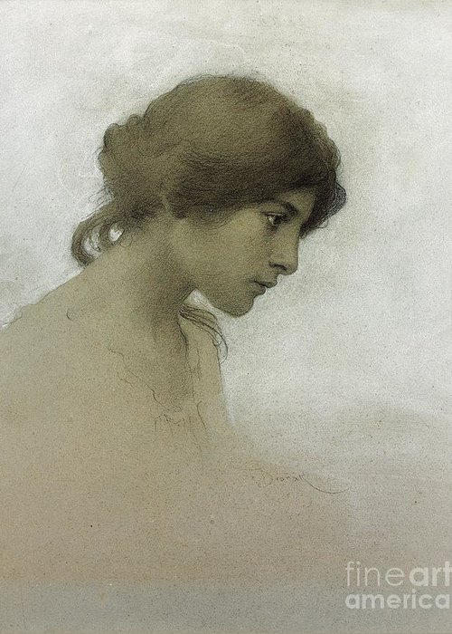 Head Of A Girl (pencil & Chalk On Paper) Female; Portrait; Young Girl; Profile; Drawing; Ethereal Beauty; Sketch Greeting Card featuring the drawing Head Of A Girl by Franz Dvorak