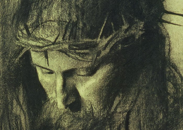 Head Of Christ Greeting Card featuring the drawing Head Of Christ by Franz Von Stuck