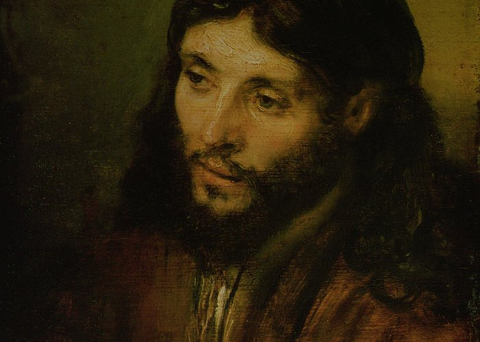Greeting Card featuring the painting Head Of Christ by Rembrandt