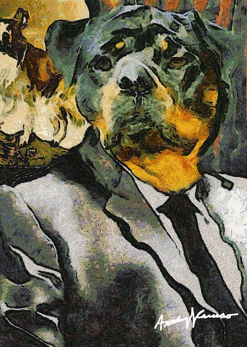 Dog Greeting Card featuring the painting Head Of Security by Anthony Caruso
