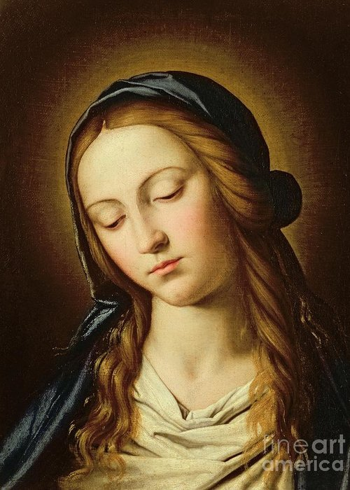 Mary Greeting Card featuring the painting Head Of The Madonna by Il Sassoferrato
