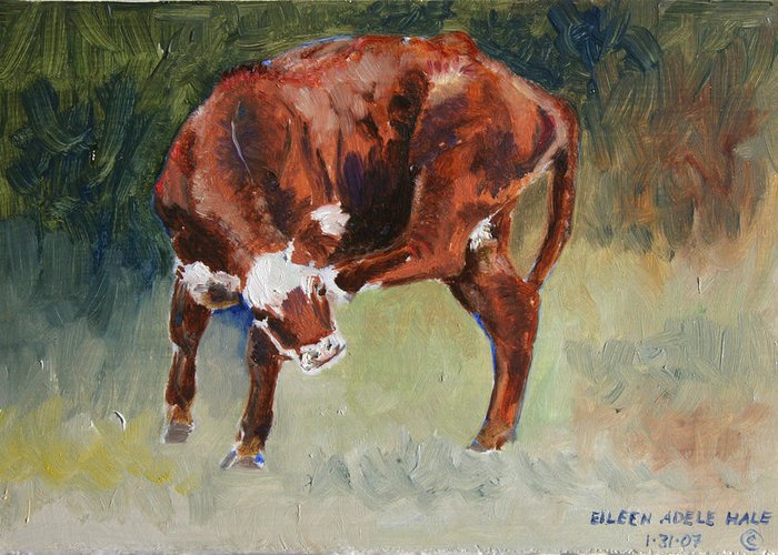 Cow Greeting Card featuring the painting Head-scratching Heifer Pad by Eileen Hale