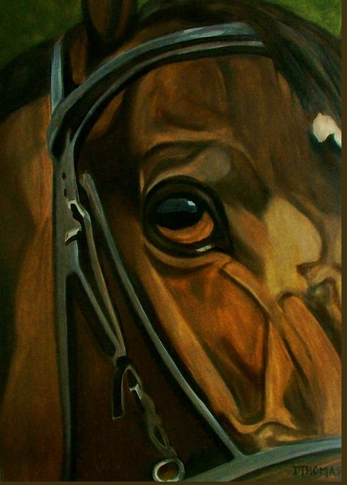 Horse Greeting Card featuring the painting Head Stall by Donna Thomas