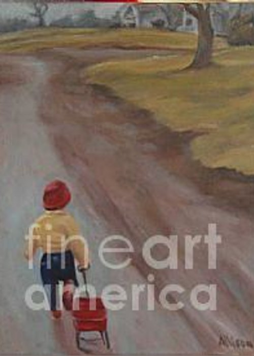 Figurative Greeting Card featuring the painting Headin by Stephanie Allison