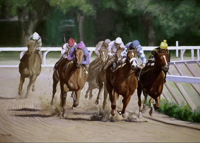 Horse Greeting Card featuring the painting Heading For Home by Linda Tenukas