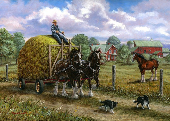 Farm Greeting Card featuring the painting Heading For The Loft by Richard De Wolfe