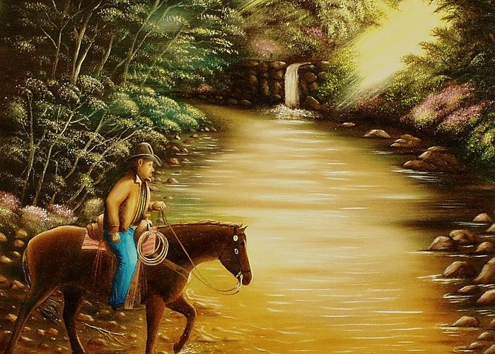 Horse And Rider Greeting Card featuring the painting Heading Home by Gene Gregory