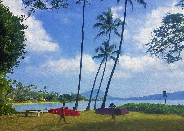 Hawaii Greeting Card featuring the photograph Heading Out To Surf by Vicki France