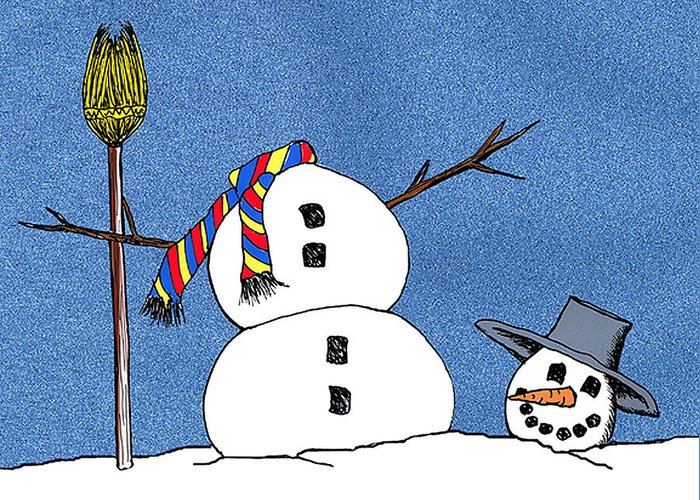 Snowman Greeting Card featuring the digital art Headless Snowman by Nancy Mueller