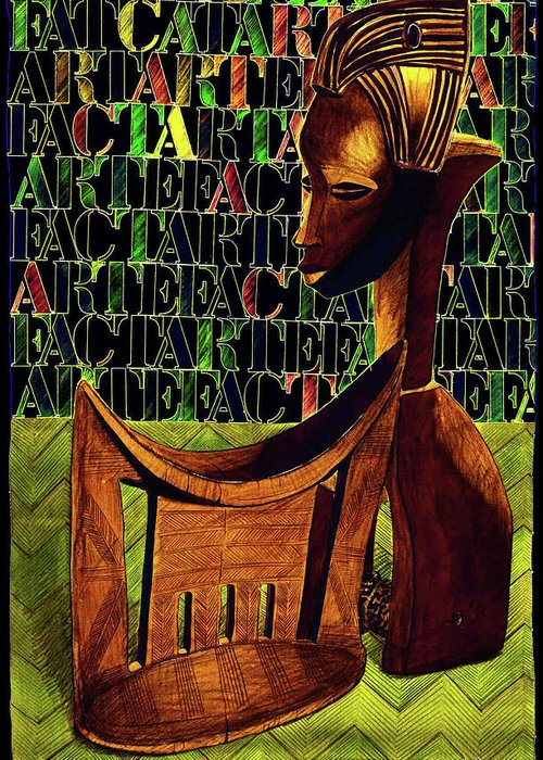 African Art Greeting Card featuring the drawing Headrest And Bobbin Alt. Colour by Ronald Rosenberg