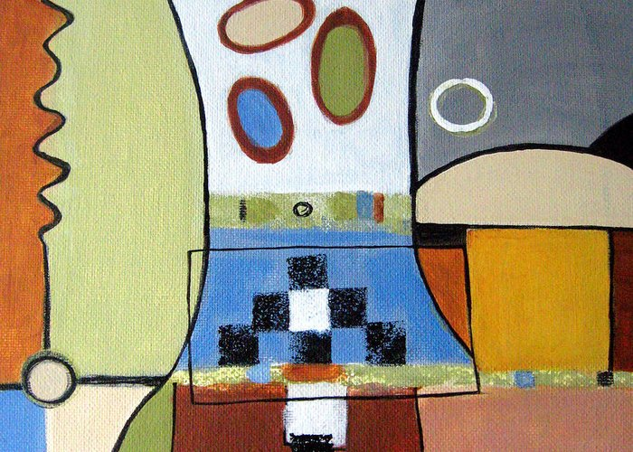 Abstract Greeting Card featuring the painting Headspin by Ruth Palmer