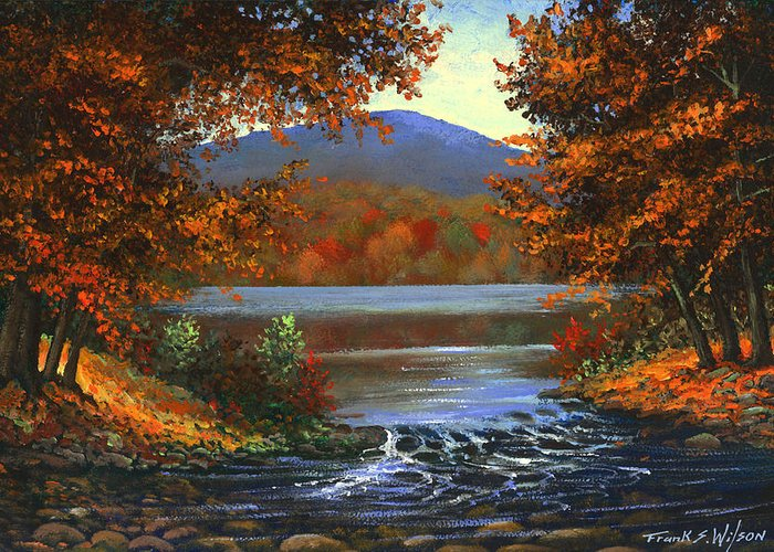 Landscape Greeting Card featuring the painting Headwaters by Frank Wilson