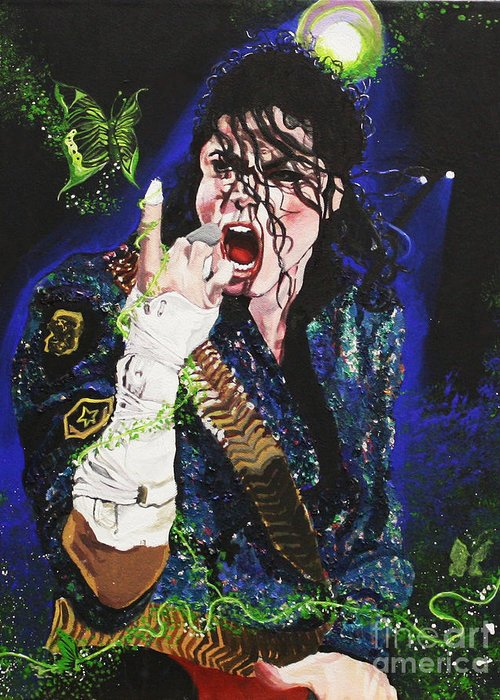 Michael Jackson Greeting Card featuring the painting Heal The World by Lauren Penha
