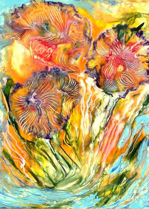 Healing Greeting Card featuring the painting Healing Blossoms For Heather Ward by Heather Hennick