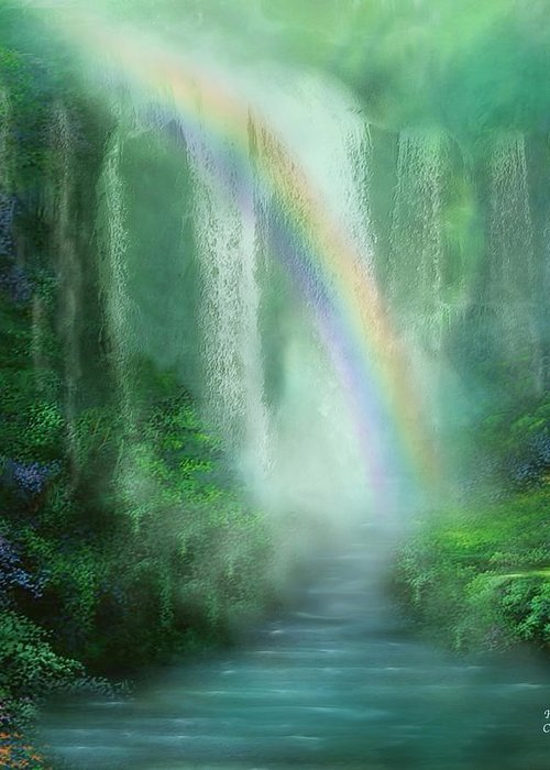 Waterfall Art Greeting Card featuring the mixed media Healing Grotto by Carol Cavalaris