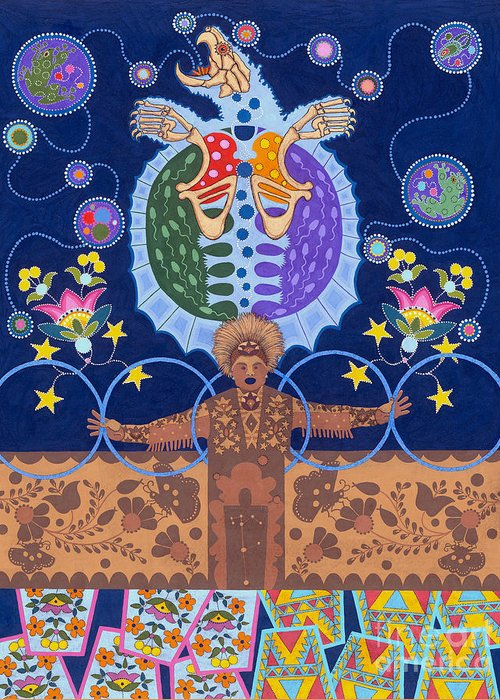 Native American Greeting Card featuring the painting Healing - nanatawihowin by Chholing Taha