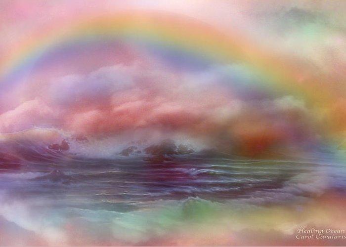 Ocean Art Greeting Card featuring the mixed media Healing Ocean by Carol Cavalaris
