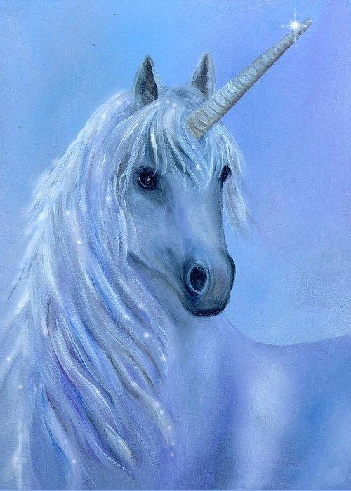 Unicorn Greeting Card featuring the painting Healing Unicorn by Sundara Fawn
