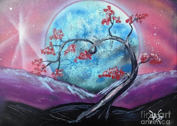 Moon Greeting Card featuring the painting Heart Blossom by Tyler Haddox