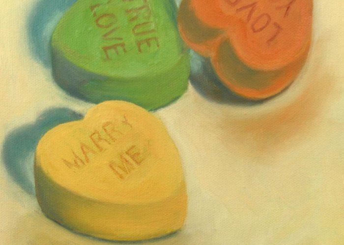 Heart Greeting Card featuring the painting Heart Candy by Jane Simonson