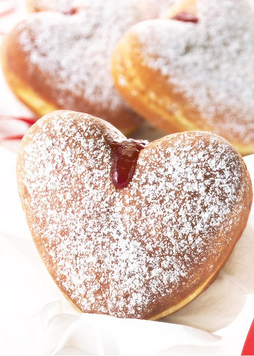 Donut Greeting Card featuring the photograph Heart Donuts by Federico Arce