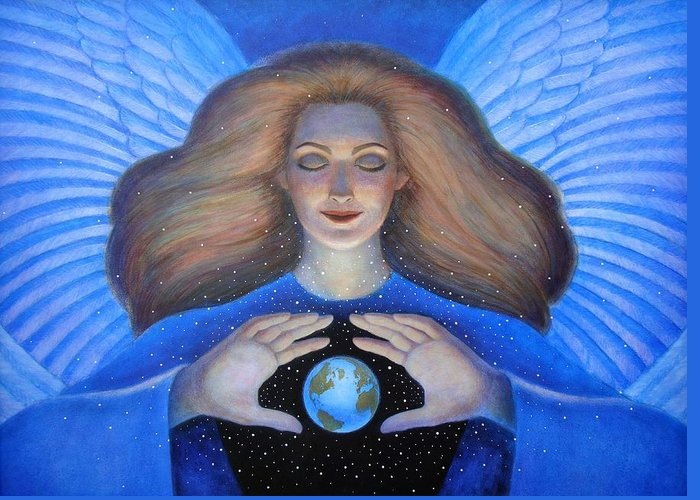 Goddess Greeting Card featuring the painting Heart Of Creation by Sue Halstenberg