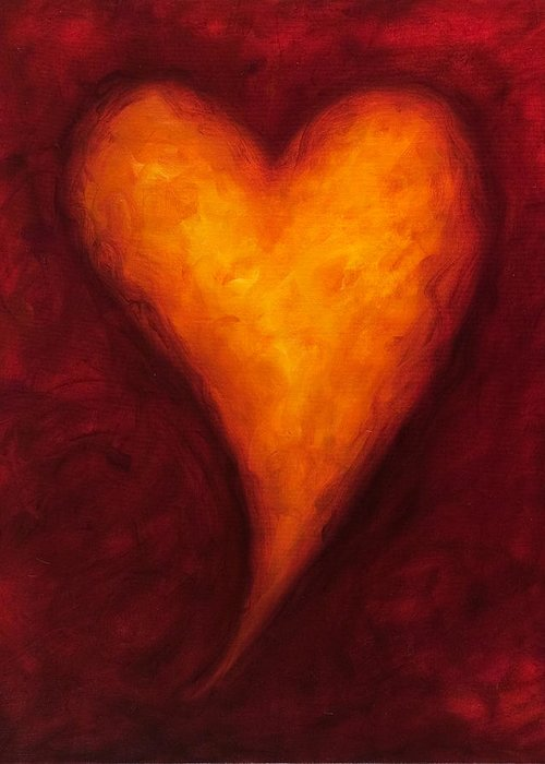 Heart Greeting Card featuring the painting Heart Of Gold 2 by Shannon Grissom