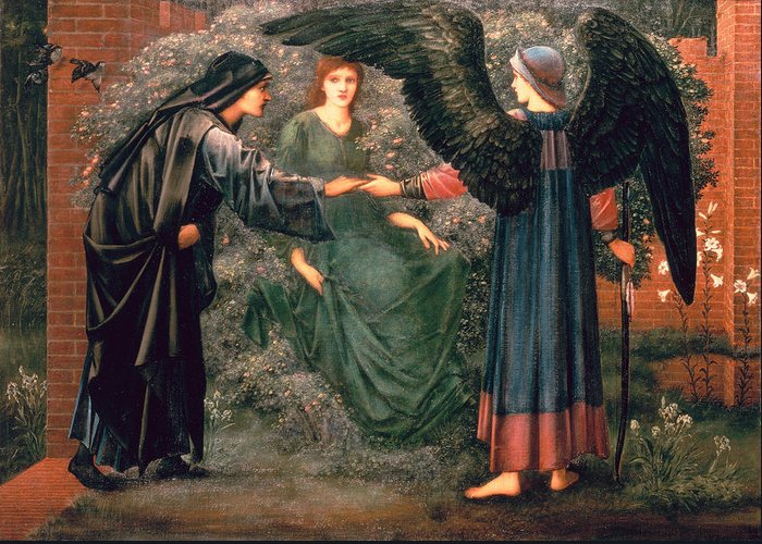 Heart Greeting Card featuring the painting Heart Of The Rose by Sir Edward Burne-Jones