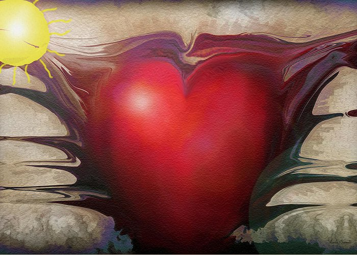 Abstracts Greeting Card featuring the digital art Heart Of The Sunrise by Linda Sannuti