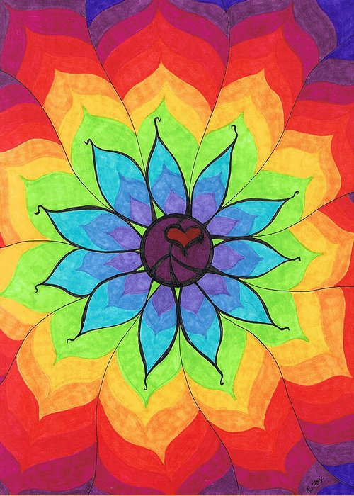 Heart Greeting Card featuring the painting Heart Peace Mandala by Cheryl Fox