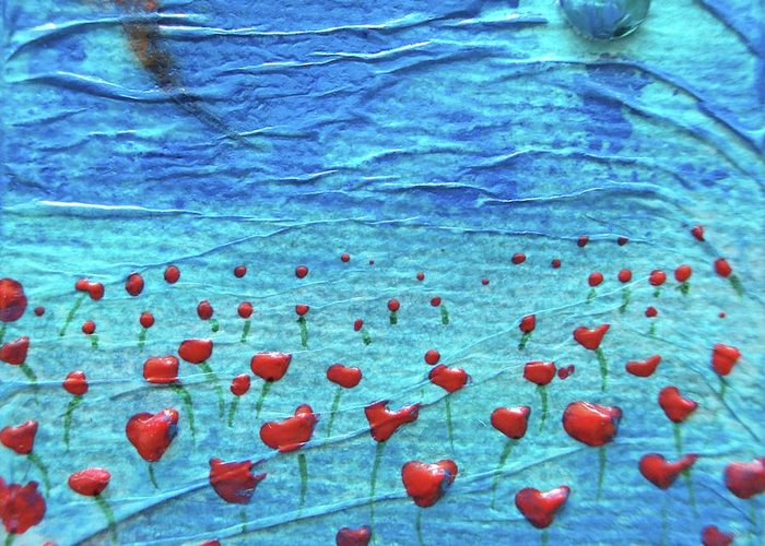 Poppies Greeting Card featuring the mixed media Heart Poppies by Shawna Scarpitti