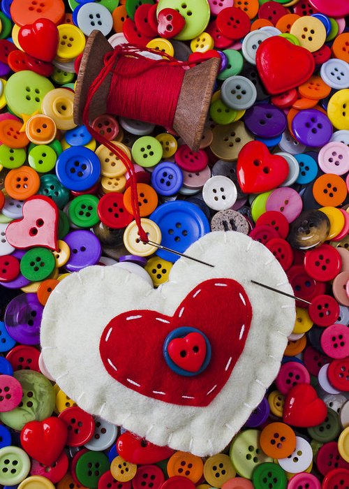 Heart Greeting Card featuring the photograph Heart Pushpin Chusion by Garry Gay