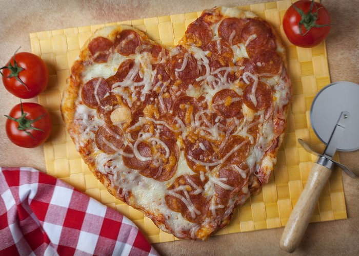 Heart Greeting Card featuring the photograph Heart Shaped Pizza by Garry Gay