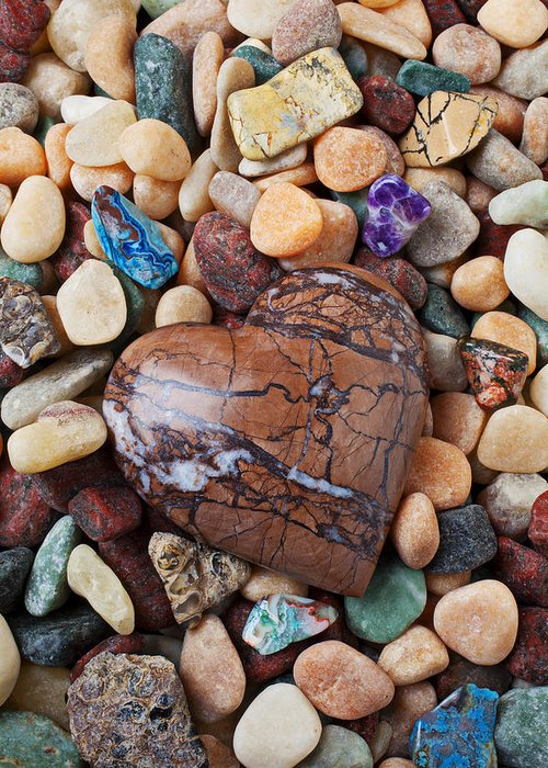 Heart Hearts Greeting Card featuring the photograph Heart Stone Among River Stones by Garry Gay