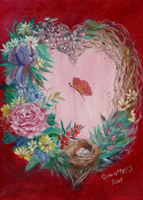Heart Greeting Card featuring the painting Heart Wreath by Quwatha Valentine