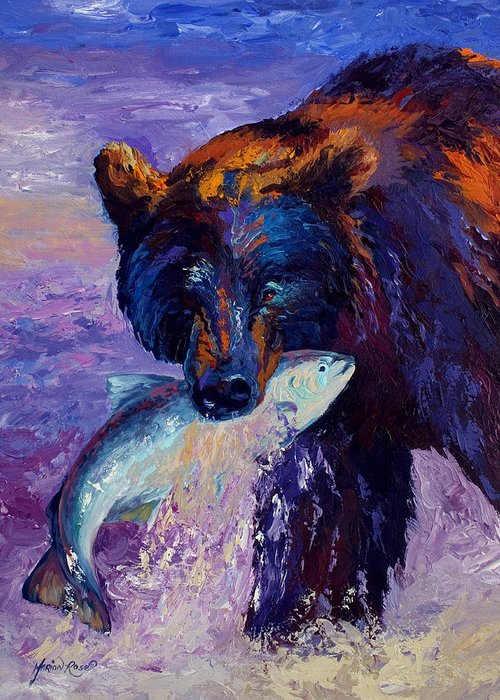 Bear Greeting Card featuring the painting Heartbeats Of The Wild by Marion Rose
