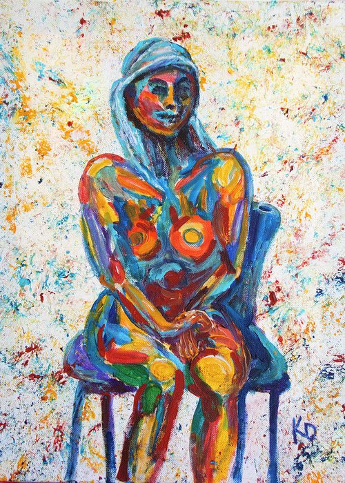 Figurative Greeting Card featuring the painting Heartfelt Connection Number One by Khaila Derrington