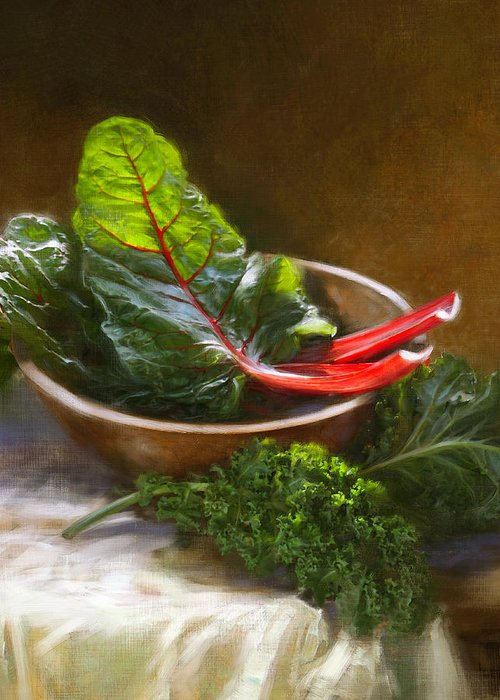 Vegetables Greeting Card featuring the painting Hearty Greens by Robert Papp