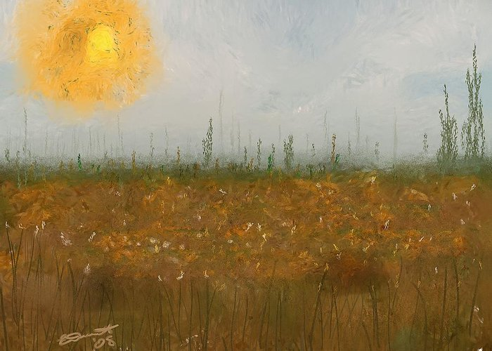 Island Painting Heatwave Sun Hot Oil Summer Marsh Massachusetts Greeting Card featuring the painting Heatwave by Eddie Durrett