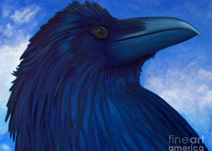 Raven Greeting Card featuring the painting Heaven Bound by Brian Commerford