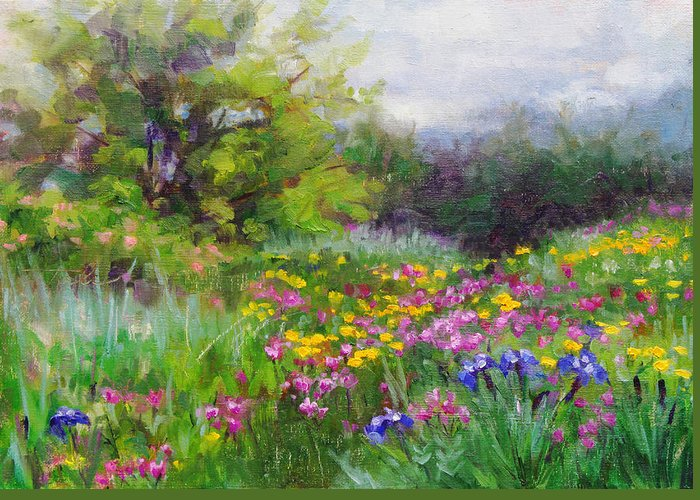 Flower Greeting Card featuring the painting Heaven Can Wait by Talya Johnson