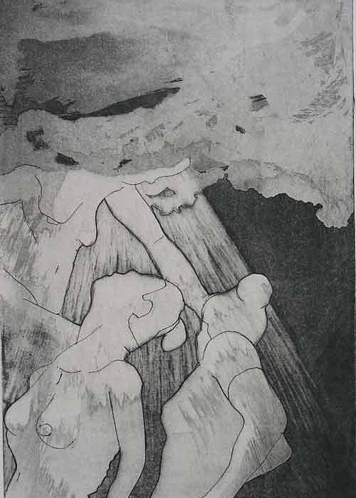 Etching Greeting Card featuring the drawing Heaven Is by Brad Wilson