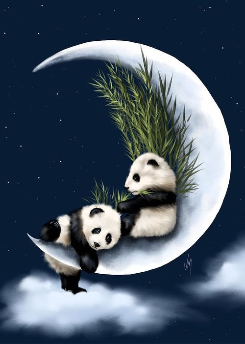 Panda Greeting Card featuring the painting Heaven Of Rest by Veronica Minozzi