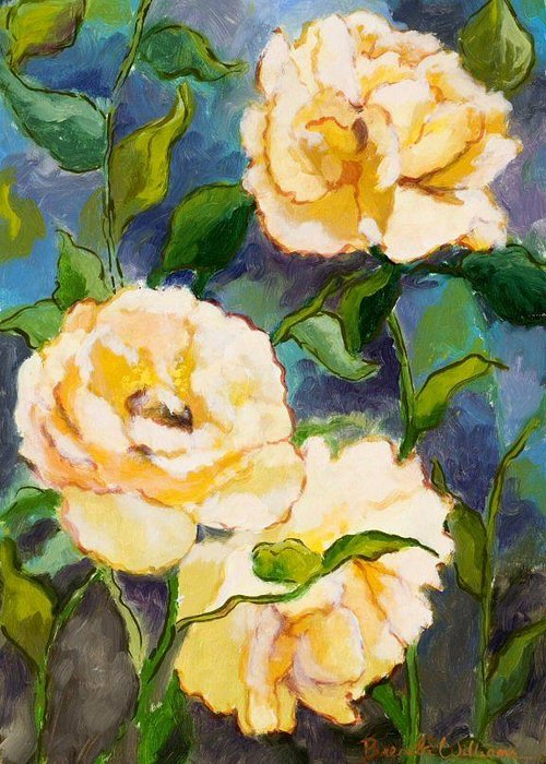 Roses Greeting Card featuring the painting Heaven On Earth Roses by Brenda Williams