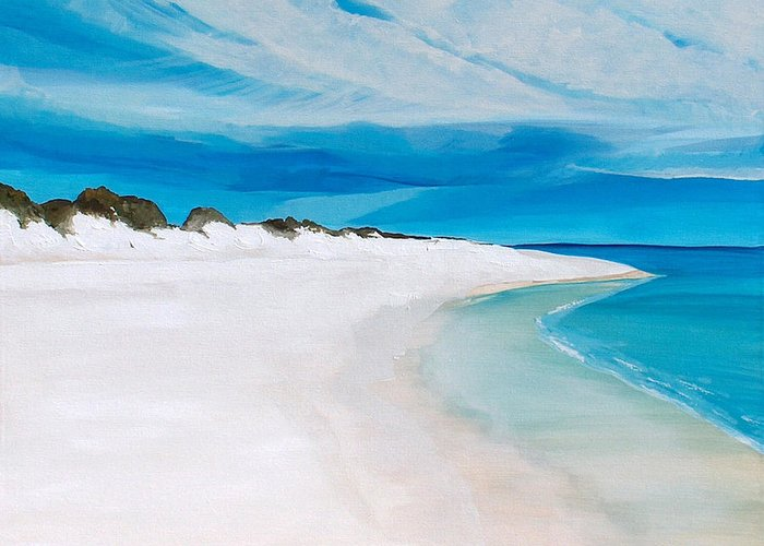 Beach Greeting Card featuring the painting Heaven by Racquel Morgan